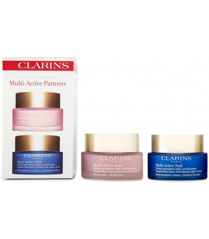 CLARINS MULTI-ACTIVE ACTIVE PARTNERS SET DAY CREAM 50 ML + NIGHT CREAM 50 ML SET INDIVIDUALLY PACKED